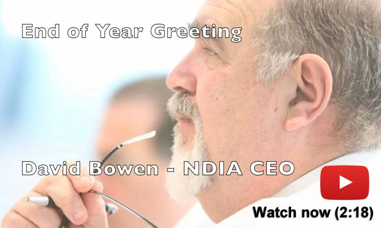 Still image of NDIA CEO David Bowen's end-of-year video message