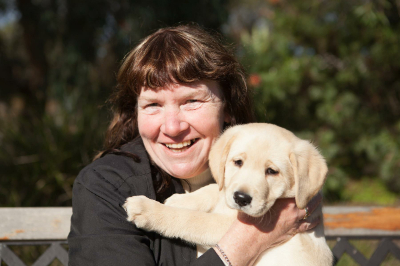 Linda Blaik with a new recruit from Guide Dogs Victoria