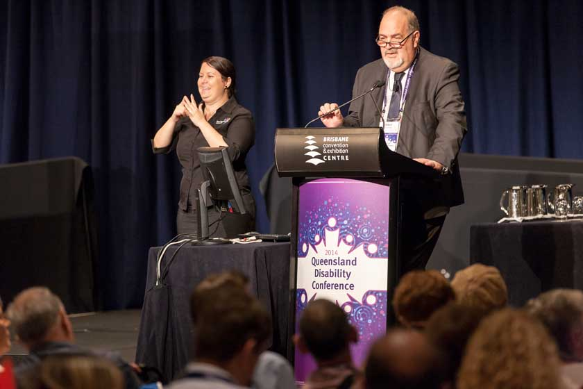 NDIA Chief Executive Officer David Bowen delivers a keynote presentation at the Queensland Disability Conference.