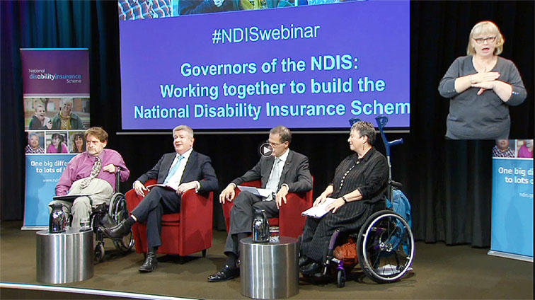 A computer screenshot shows NDIA's Manager of Communications and Engagement, Dougie Herd, left, Assistant Minister for Social Services, Senator Mitch Fifield, Chair of the NDIA Board Bruce Bonyhady and Principal Member of the NDIS Independent Advisory Council, Dr Rhonda Galbally at the webinar.