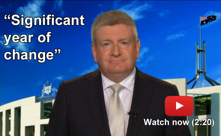 Still image of Senator Mitch Fifield giving an end-of-year address