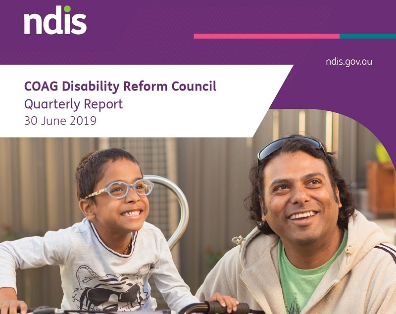 Image from cover of the N.D.I.S. Quarterly Report for 30 June 2019 featuring a smiling young boy on his bicycle, next to his father.