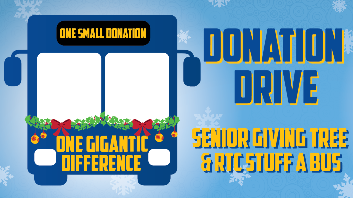 Bus graphic that says donation drive