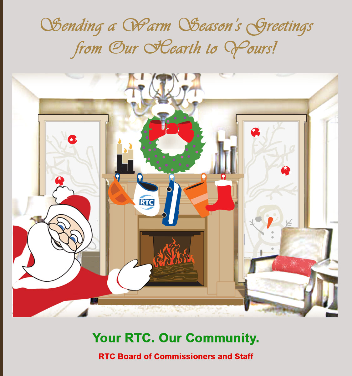 Santa waves in front of a fireplace with an RTC stocking