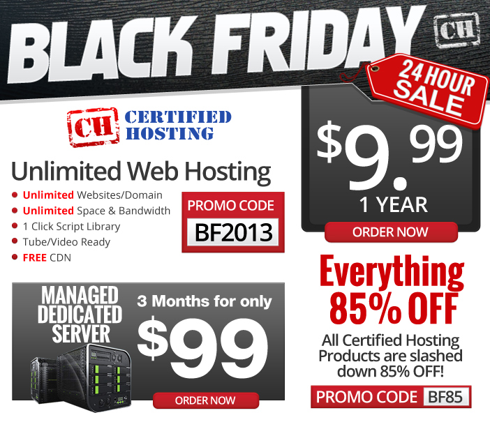 Certified Hosting Black Friday / Cyber Monday Offer 2013 for 85% Discount