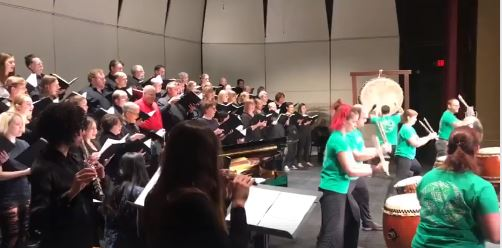 Rehearsing for Sounds of Japan performance with Columbia Chorale