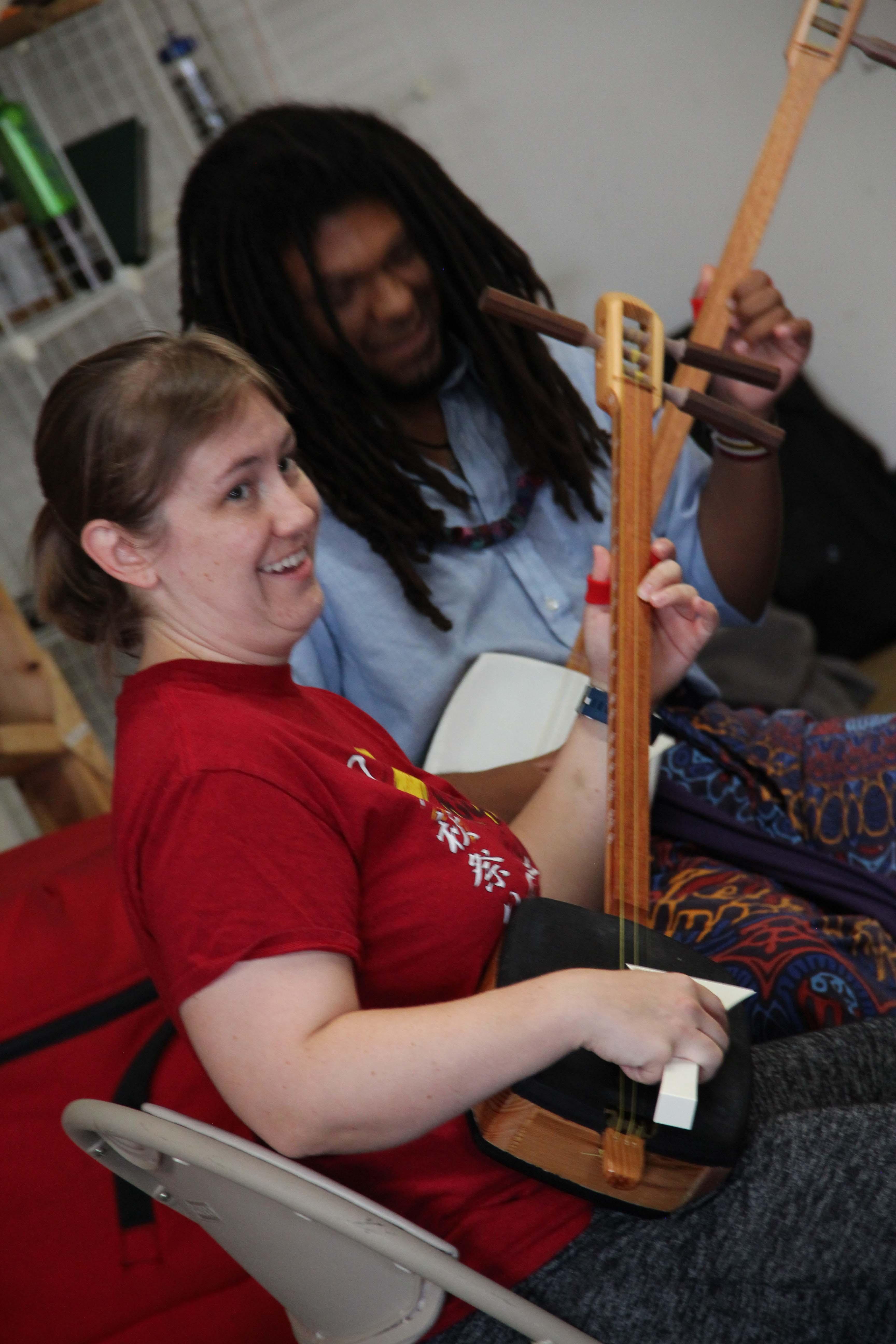 Katie practices shamisen