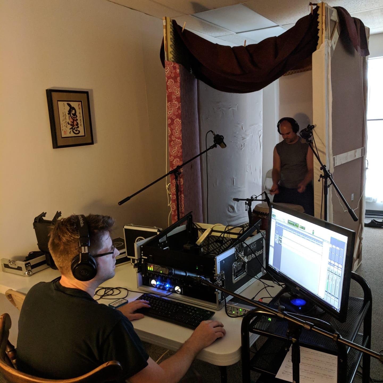 Studio recording session