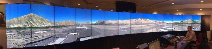Digital simulation of Friedman Memorial Airport on the monitors in Leesburg, VA.