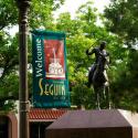Juan Seguín statue and signage, Seguin