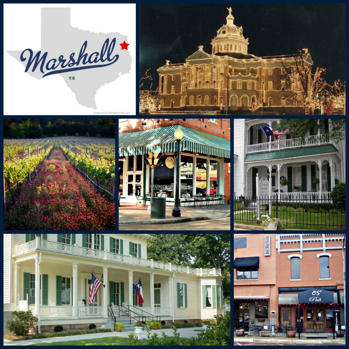 Collage of sites in Marshall, Texas