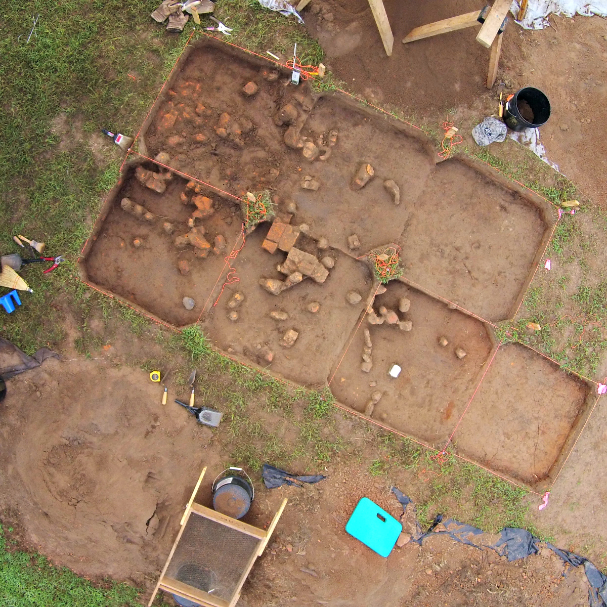 Aerial view of excavation site