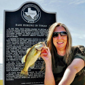 "Selfie with fish and ""Bass Fishing in Texas"" marker"