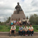 Students in front of the Stephen F. Austin statue at San Felipe de Austin State Historic Site