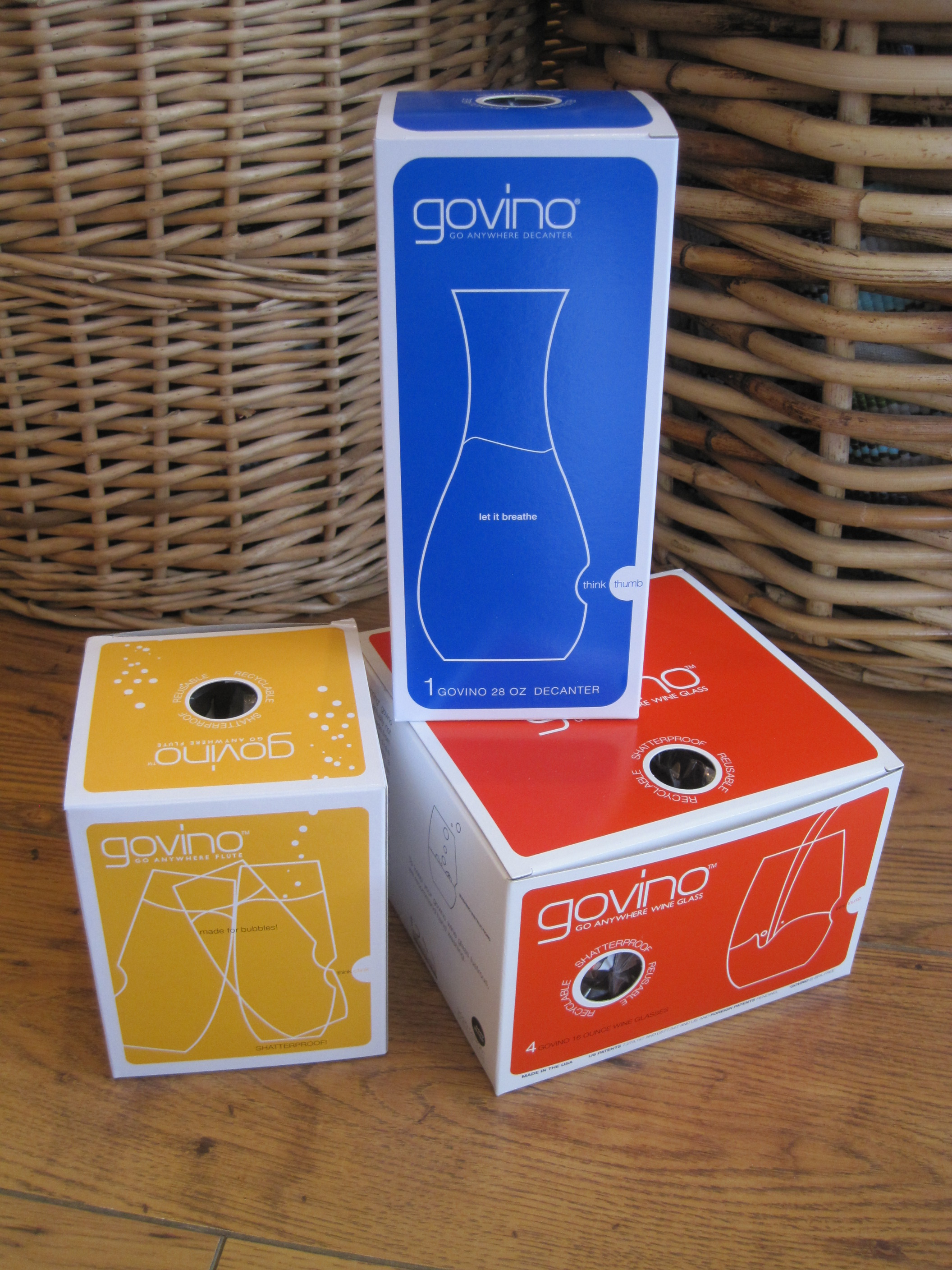 govino wine glasses, govino champagne glasses, govino decanter