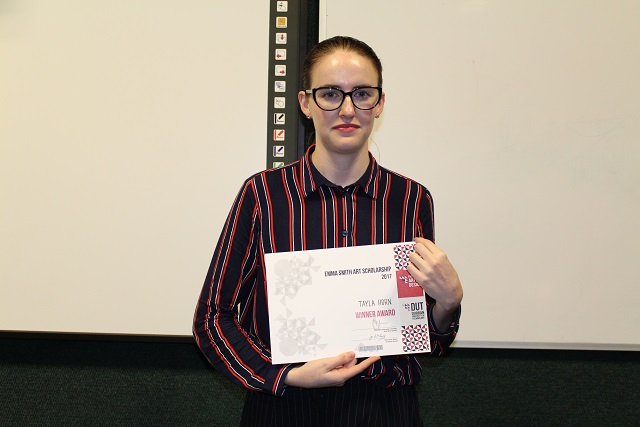 Fashion and Textiles student Tayla Horn who won the Emma Smith Scholarship.