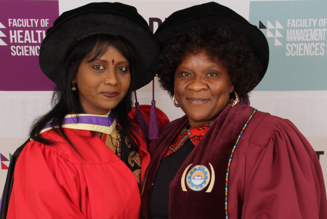 DUT's Dr Vasanthrie Naidoo with newly appointed Executive Dean of the Faculty of Health Sciences, Professor Nokuthula Sibiya.