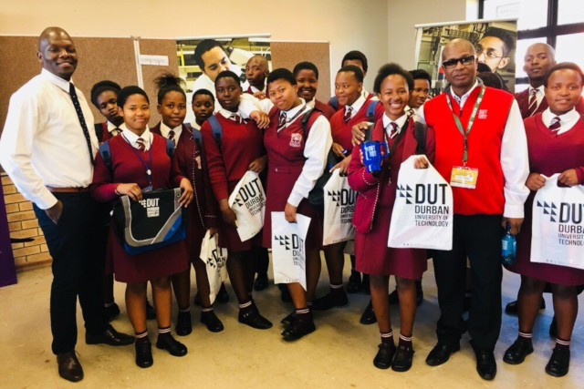 DUT's Michael Zulu and Tex Peters with learners
