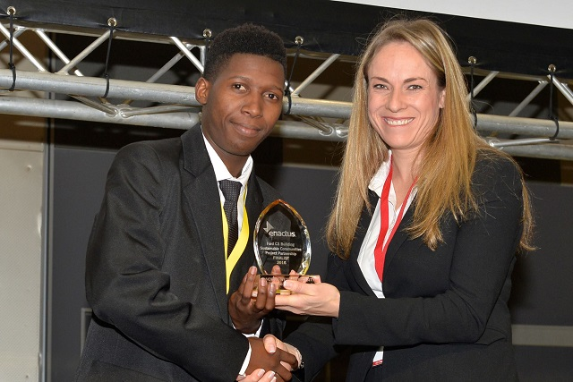 DUT's Enactus student receives an award at the Enactus Annual Competition.