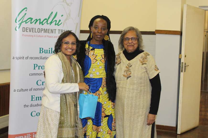 Mrs Kajari Biswas, Professor Sibusiso Moyo DVC: Research and Innovation at DUT, and Ela Gandhi.