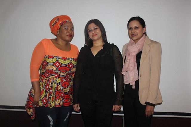 Speakers Lentsu Nchabeleng, Dr Nishani Ramdhani and Tamlyn Seunanden at the workshop
