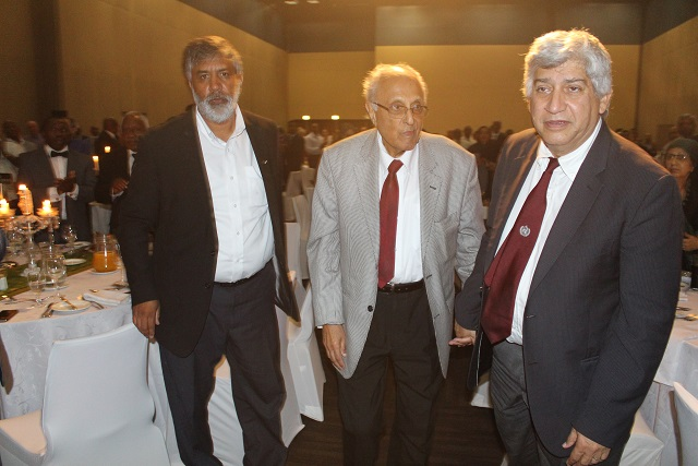 Neeshan Balton (Ahmed Kathrada Foundation Director), Dr Ahmed Kathrada and Professor Ahmed Bawa.