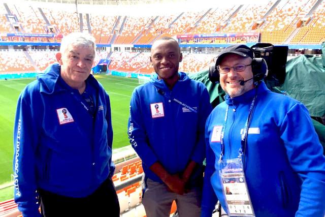 Prof Pete Burnett, Shepherd Xolo, Louis de Waal inside the World Cup stadium in Saransk, Russia.