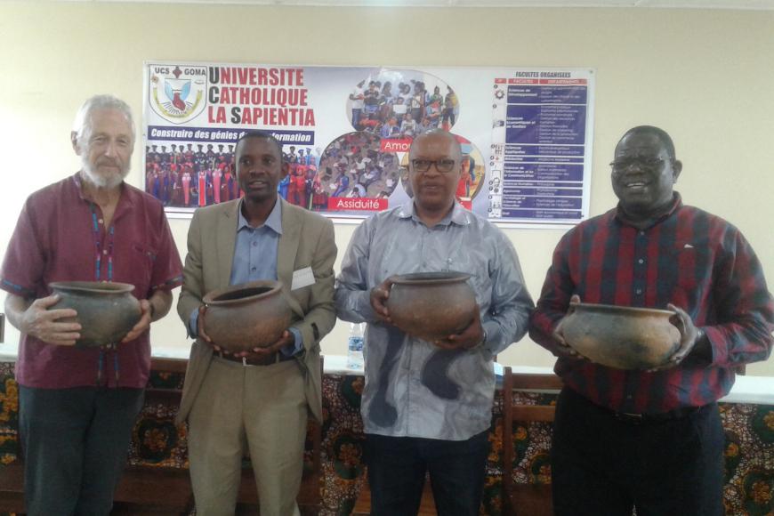 Prof Geoff Harris, Dr Joseph Rudige, Fr Innocent and Dr Chrys Kiyala