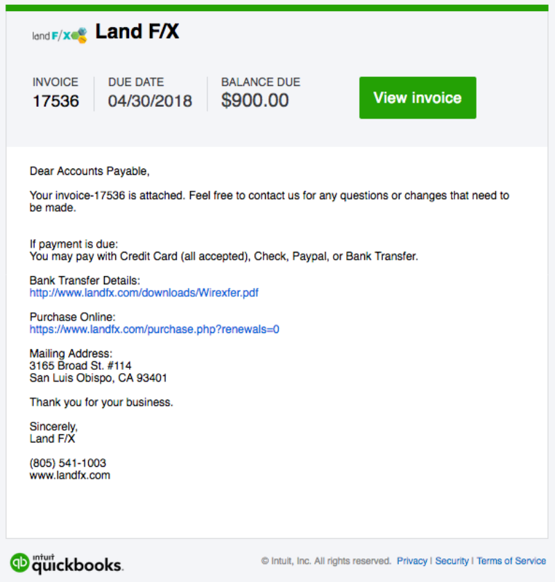 Land F/X Invoice from Intuit Quickbooks