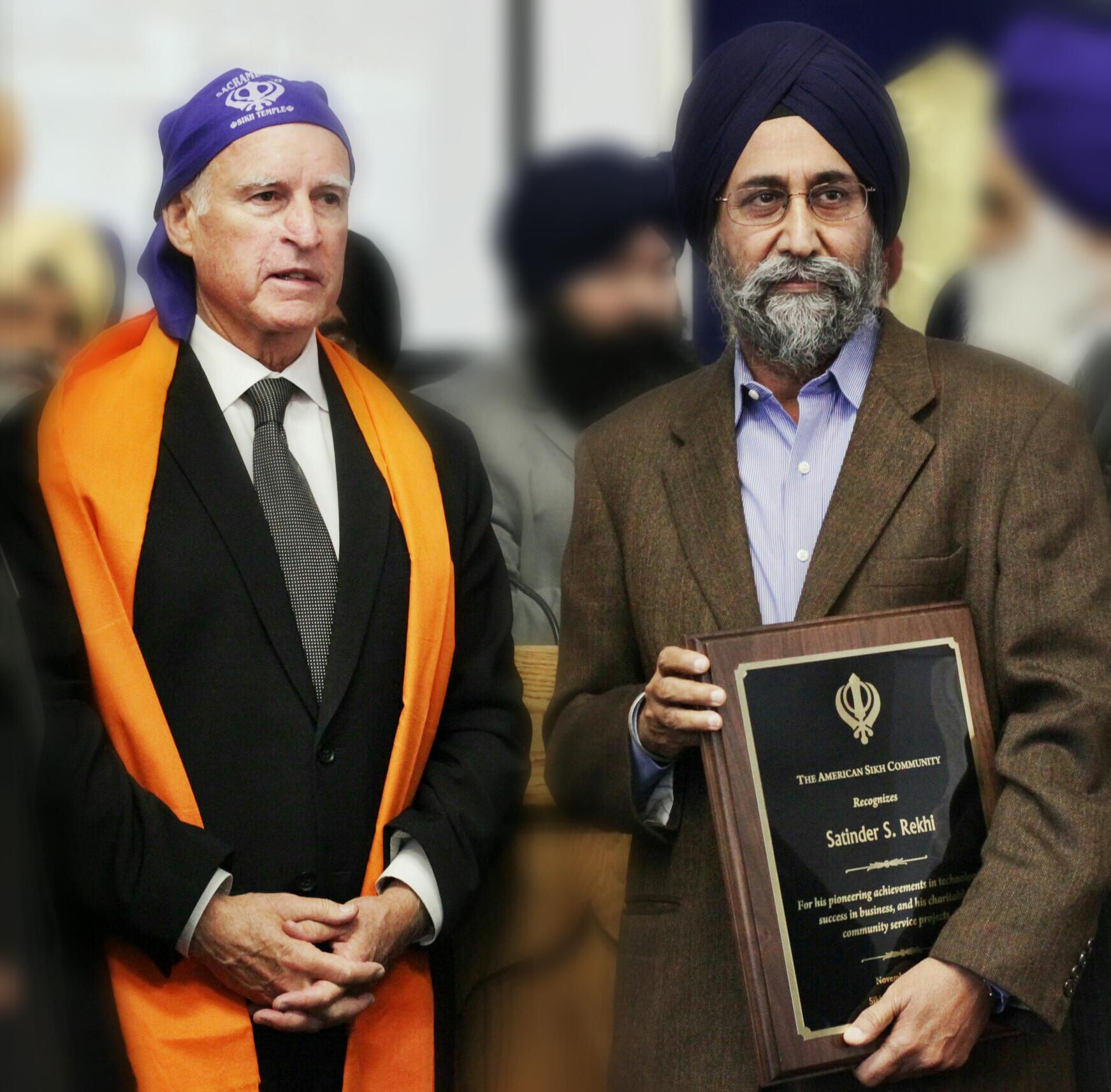 Governor Jerry Brown and Satinder Singh Rekhi,