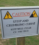 Sign at bottom of Cliffs on South West Coast Path