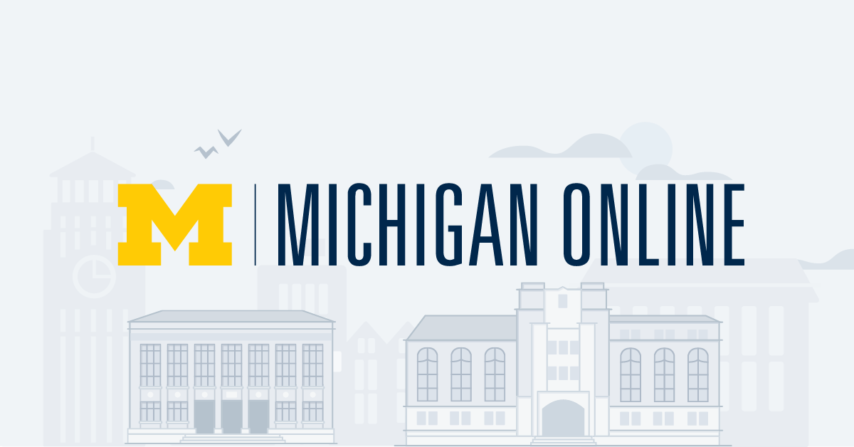 Michigan Online logo in front of illustrations of campus buildings.