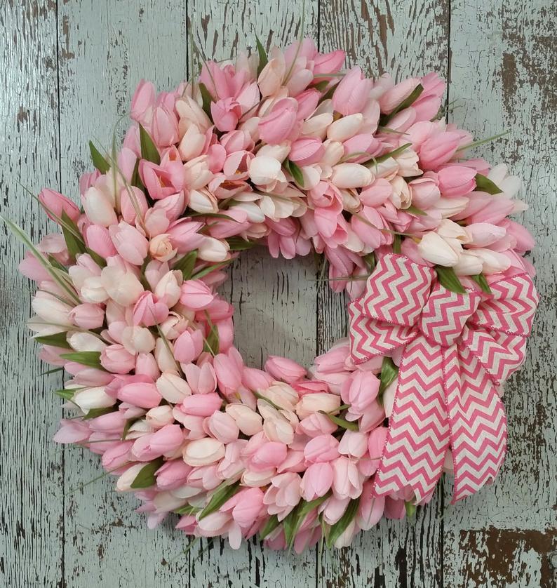 Easter decor, flower ring, flowers for easter