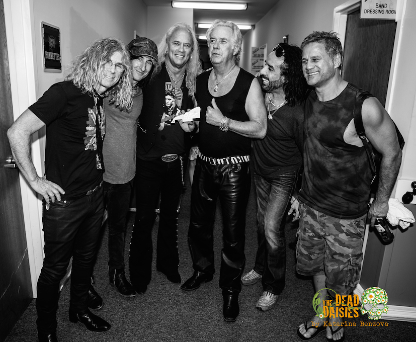 David Lowy, Richard Fortus, Marco Mendoza & Jon Stevens with Rickey Medlocke & Howard Leese (photo by Katarina Benzova)