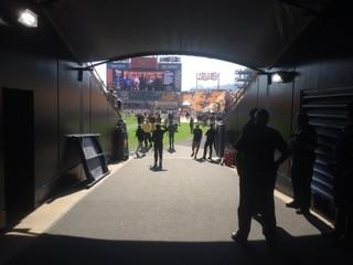 View through a tunnel onto Heinz Field.