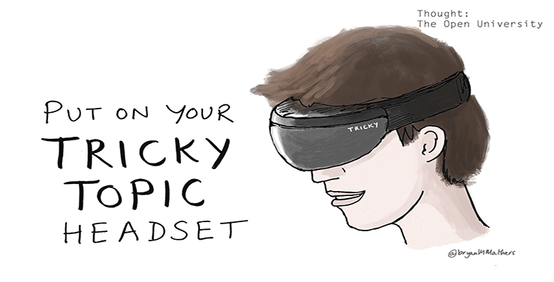 A person wearing a 'tricky topic' headset