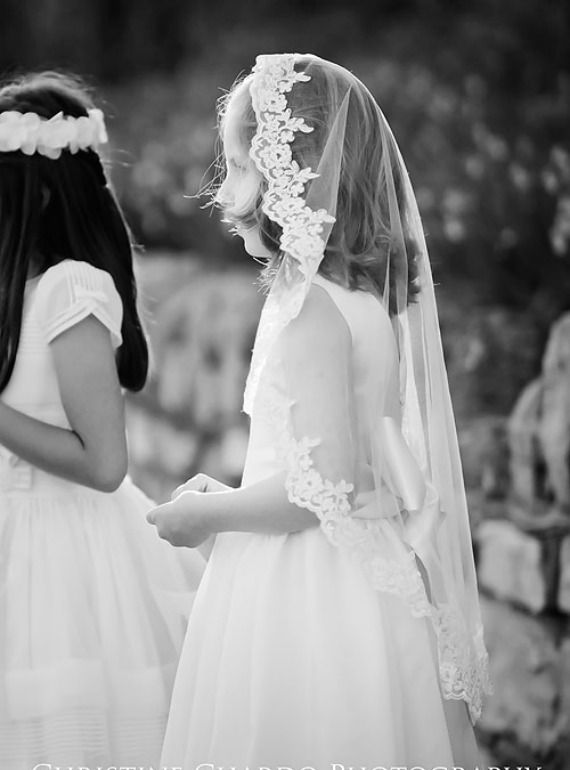 communion mantilla veil with lace on little girl