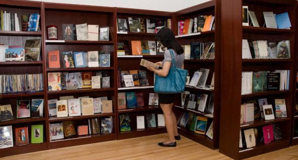Bookshelves in the Poets House