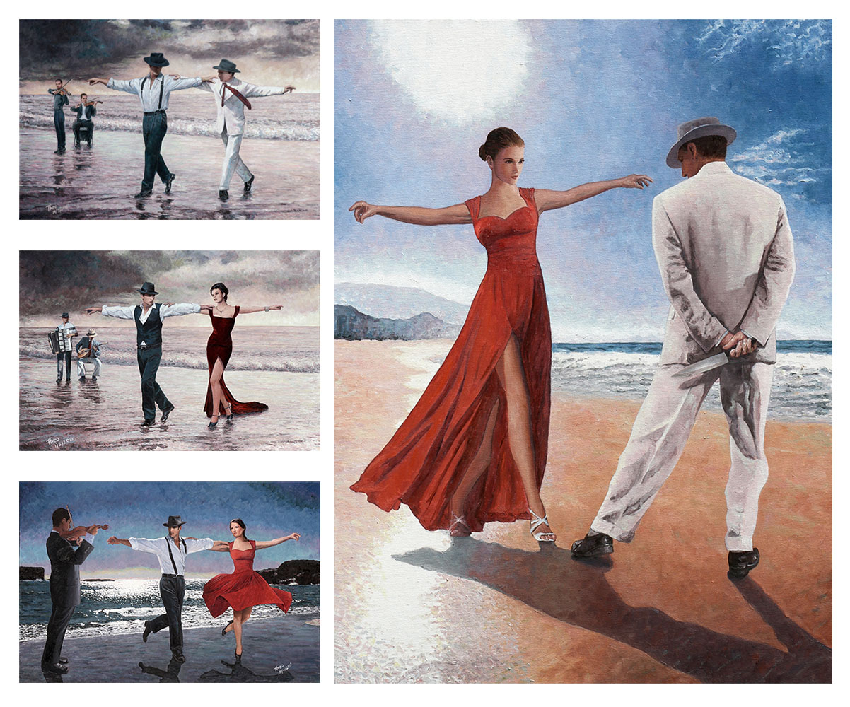 Four oil paintings by Theo Michael of dancing by the beach theme