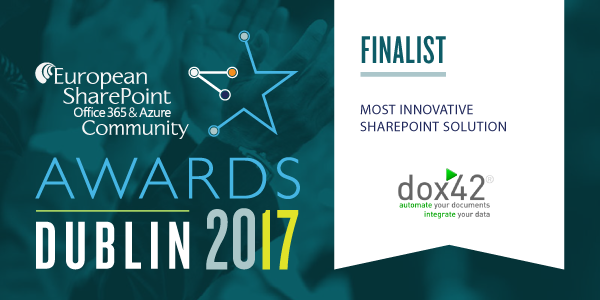 dox42 Finalist for Most Innovative SharePoint Solution Award, ESPC 17