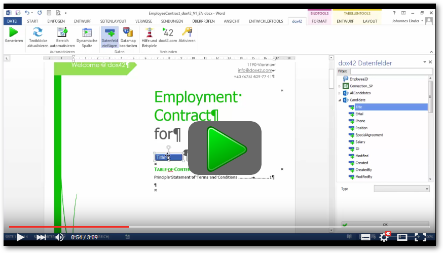 dox42 Video Creating automated Word contracts with dox42