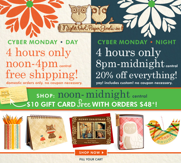 Night Owl Paper Goods Cyber Monday Sale