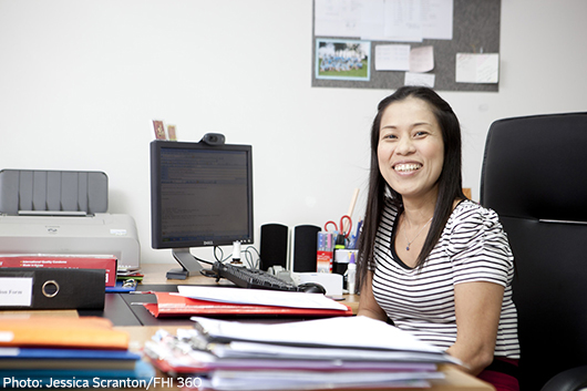 Woman in office in Thailand