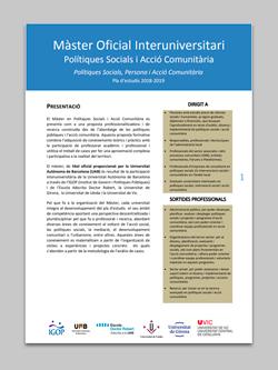 Pla Estudis Màster Acció Comunitària 2018-19