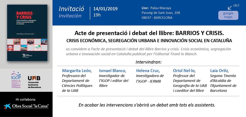 Palau Macaya Presentacio llibre Barris i Crisi