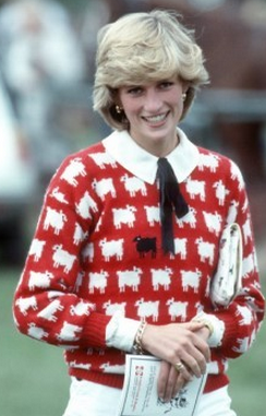 Princess Diana in a black sheep sweater