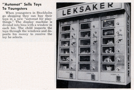 Automat Sells Toys to Youngsters Leksaker 1969