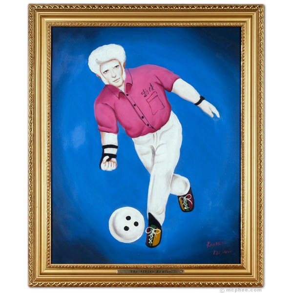 Albino bowler oil painting by Archie McPhee