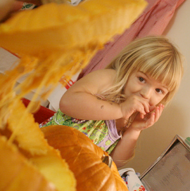 Scarlett in 2008, afraid of pumpkin guts