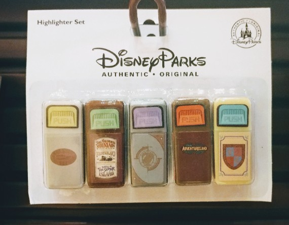 Authentic and Original Disney Parks trash can highlighter set